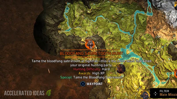 Bloodfang Sabretooth Tiger - map location