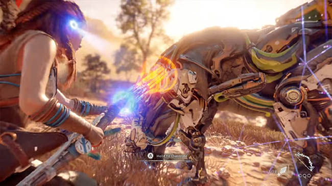Aloy overriding a machine animal