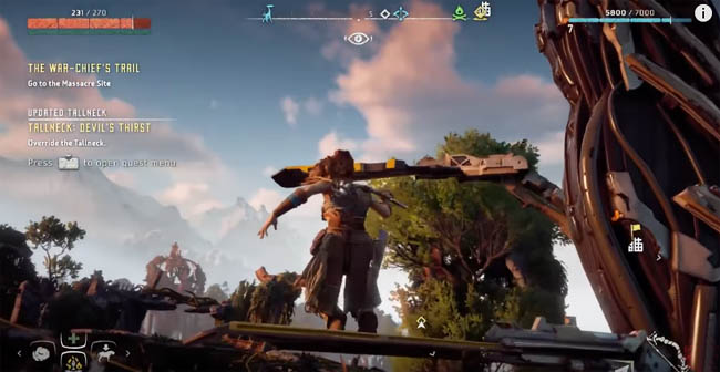Aloy climbing one