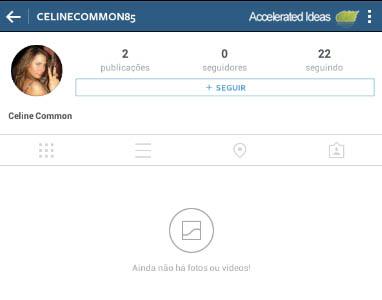 Instagram - ainda não há fotos ou video