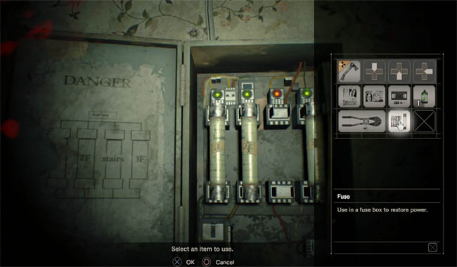 re7_fuse_box resident evil 7 how to find the fuse and get to the attic Horizons Journey into Space at soozxer.org