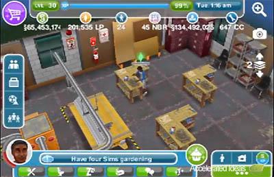 Sims Freeplay - bancada no centro comunitário