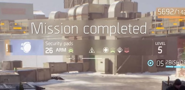 Mission complete status screen