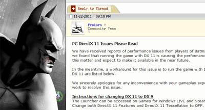 Arkham City DirectX Performance Problems - How to fix