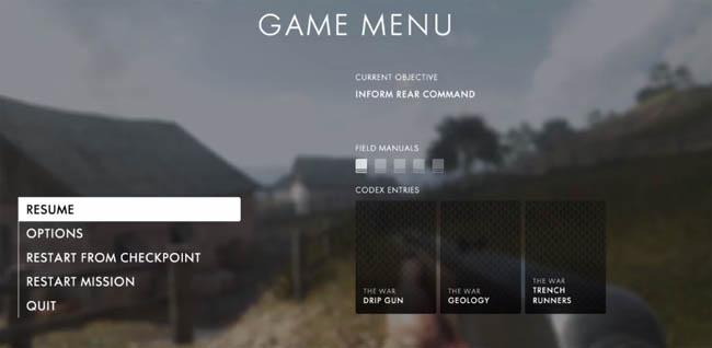 Battlefield 1 - Codex shown on pause screen