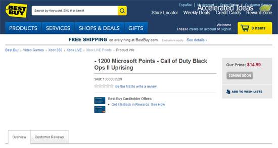 Best Buy - Black ops 2 DLC Uprising