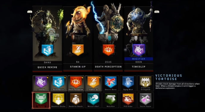 Perks menu shown in game
