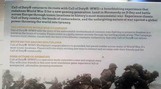 COD WW2 mode descriptions on display box
