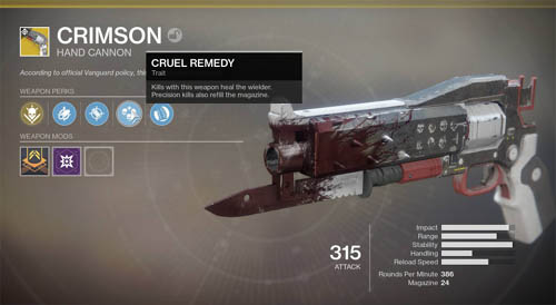 The Crimson exotic Hand Cannon