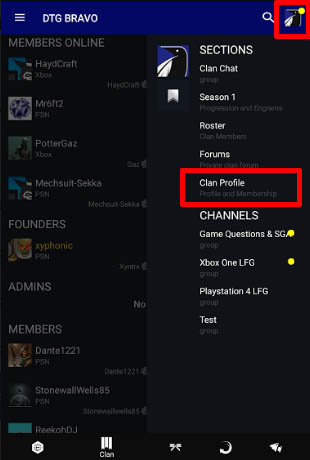 Destiny 2 App - Clan Profile button