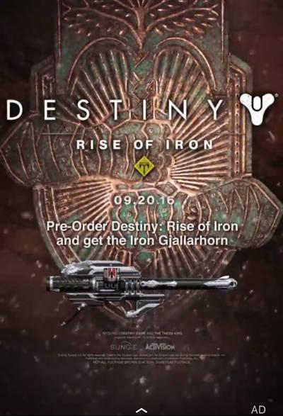 Rise of Iron pre-order promo