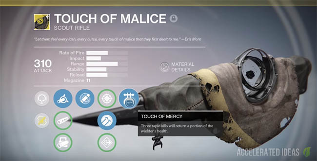 Touch of Malice exotic weapon