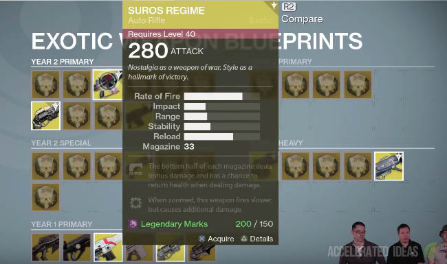 Destiny list of year 1 exotics you can upgrade to year 2 old vs suros regime year 2 upgrade malvernweather Images