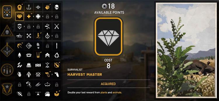 Harvest perk