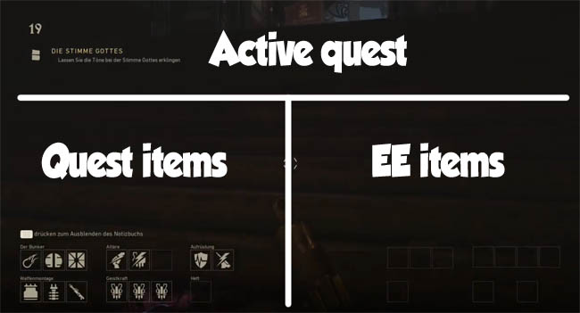 Inventory screen sections