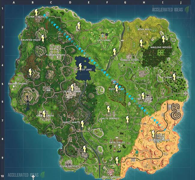 Lightning Bolt map locations for Season 5 Week 1