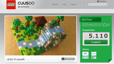 Official Minecraft Lego Project gains over 5000 supporters at Cuusoo