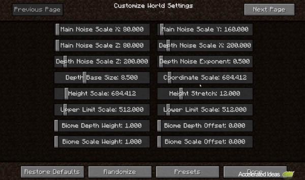 Minecraft 14w17a - Ruído, Profundidade, Escala altura, Profundidade Bioma
