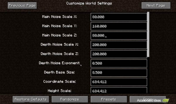 Minecraft 14w17a - ruído, a profundidade, a escala