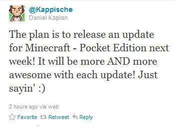 Minecraft Pocket Edition Update Confirmed for wk of 6th Feb