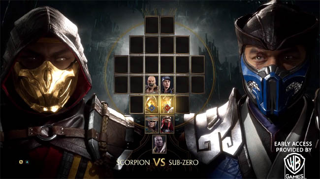 Character select screen in MK11