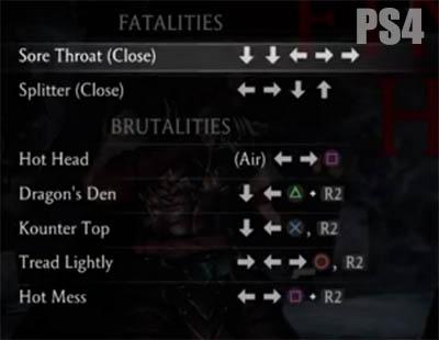 mortal kombat xl fatalities codes ps4