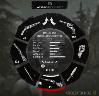 Weapon wheel showing gun stats