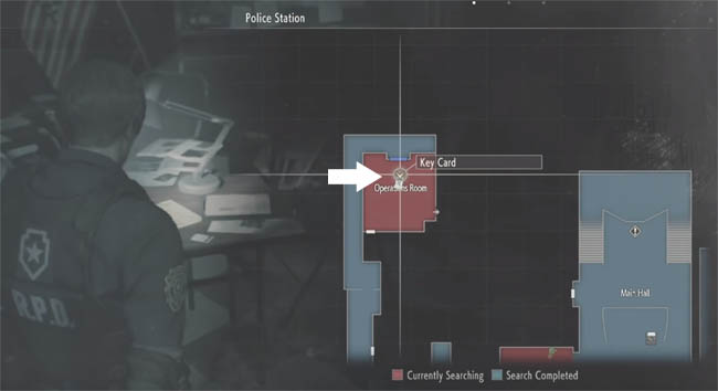 Map showing keycard location in Operation Room