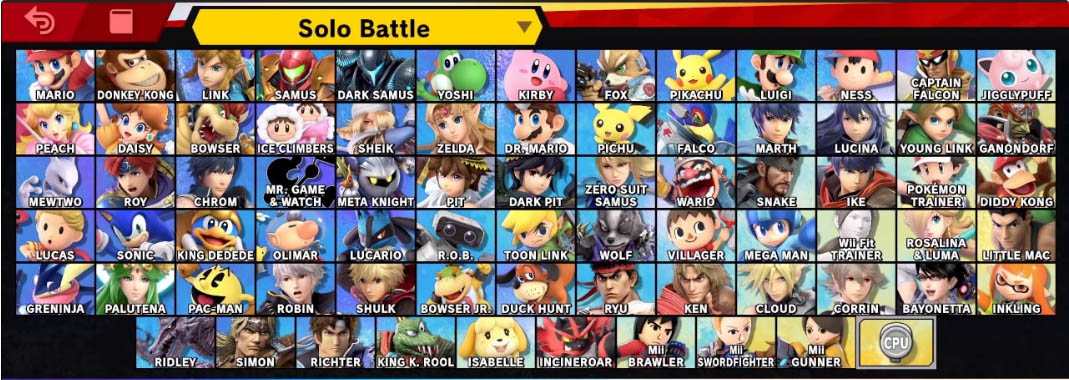 Super Smash Bros Ultimate complete character roster
