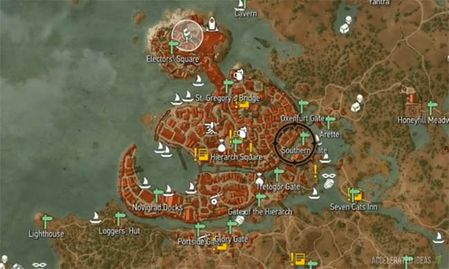 Witcher 3 complete map with points of interest accelerated ideas the image above shows the city of novigrad a free city located in the northern half of the world map novigrad is one of the biggest ports in the witcher 3 gumiabroncs Choice Image