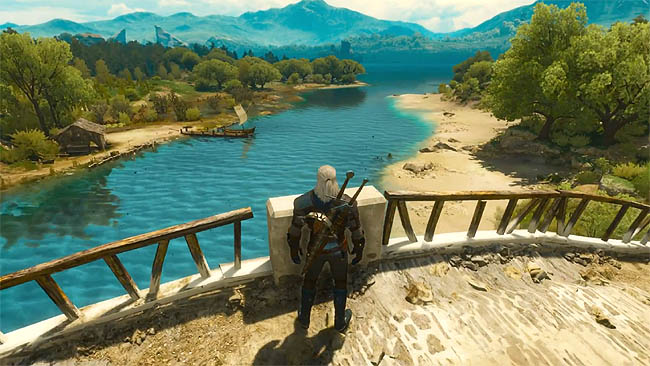 Witcher 3 Blood and Wine - Screenshot from bridge overlooking river