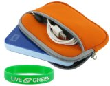 Neoprene Sleeve Case (Orange) para Toshiba 320 GB USB 2.0 Disco rigido externo portatil HDDR320E04XW